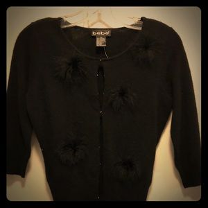 Bebe Black Cashmere Cardigan with Puffs